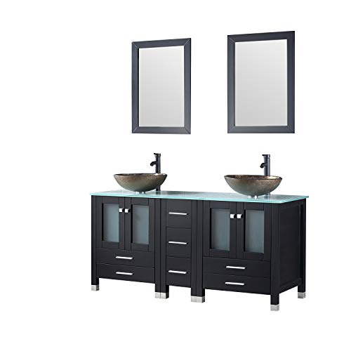 Vanity Bathroom Oak Unit (Walcut 60 Inch Black Bathroom Vanity and Sink Combo Double Cabinet with Double Glass Vessel Sink and Faucet Combo (Brown 1), 60