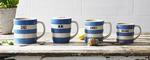 Personalised Cornishware Blue and White Stripe Coffee Cup Mug 12oz