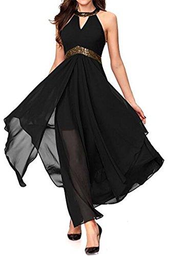 Cromoncent Femmes Licol Taille Plissée Haute Maille Noire Robe Swing Irrégulière Longue