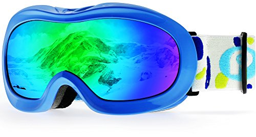 picador Kids Ski Goggles with Excellent Impact Resistance Anti-Fog Lens 100% UV Protection for Boys & Girls (Blue)