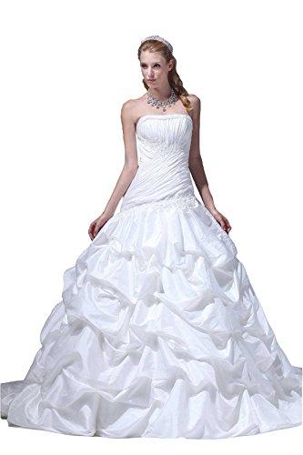 Pronovias Bridal Dresses - Angel Formal Dresses pick ups waist lace white wedding dress(18,White)