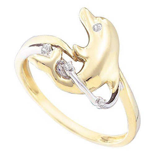 Sonia Jewels Size 7-10K Yellow Two Tone Gold Round Diamond Dolphin Fashion Ring - Prong Setting (.03 cttw.)