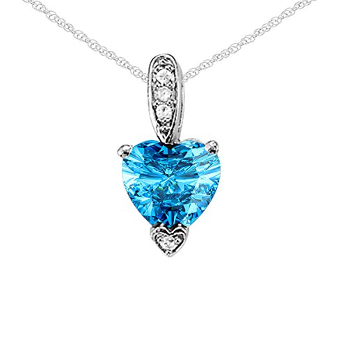 10k Gold 18' Chain - 1.15Ct Ttw White Gold Heart Shape Gemstone And Diamond Pendant In 10K With 18'' Rope Chain