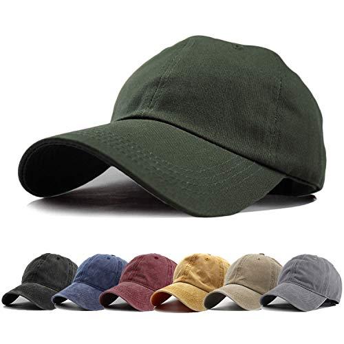 HH HOFNEN Men Women Washed Twill Cotton Baseball Cap Vintage Adjustable Dad Hat (#1 Army Green Classic)