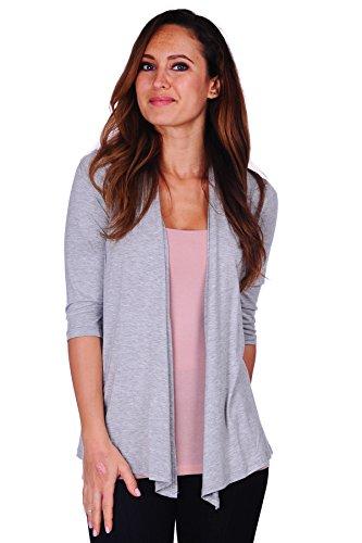 3/4 Sleeve Birthday (Simply Ravishing SR Womens Basic 3/4 Sleeve Draped Open Front Cardigan (Size: S-3X), Large, H.Grey)