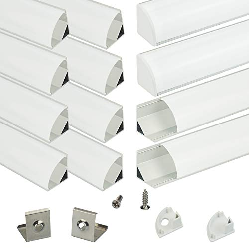 Muzata Aluminum Channel For Led Strip Light With Milky White Curved Diffuser Cover, End Caps, and Mounting Clips. Right Angle Aluminum Profile, V-Shape with Video, 12-Pack 3.3ft/1M V1SW,series -