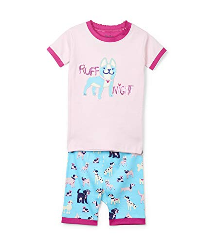 Hatley Girls' Little Organic Cotton Short Sleeve Applique Pajama Set, Playful Pooches 6 Years]()