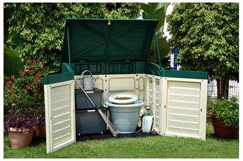 Contenedor exterior para almacenamiento (plástico, para jardín, cobertizo, garaje)