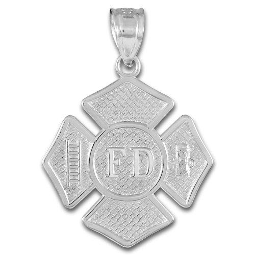 925 Sterling Silver St Florian Medal Firefighter Badge Pendant - Maltese Cross Medal