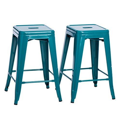 Knoll Bar Stools - ModHaus Living Set of 2 Turquoise French Bistro Tolix Style Metal Counter Stools in Glossy Powder Coated Finish Includes (TM) Pen