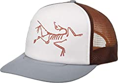 You'll flock to the casual performance of the Arc'teryx® Bird Trucker Hat. Polyester tucker cap in a 5-panel design. Arc'teryx bird logo at front panel. Flat brim at front. Adjustable snapback closure at rear. Interior sweatband wicks away m...