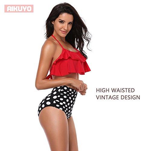 Costume Beachwear Bikini Vita Rosso Aikuyo da bagno alta Set Due Donna Donna Pezzi OtxTxzq