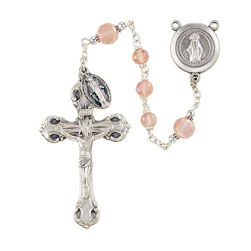 Elysian Gift Shop Rose Pink Italian Rosary 6mm Austrian Crystal beads and Silver centerpiece and crucifix (Miraculous Medal Centerpiece)