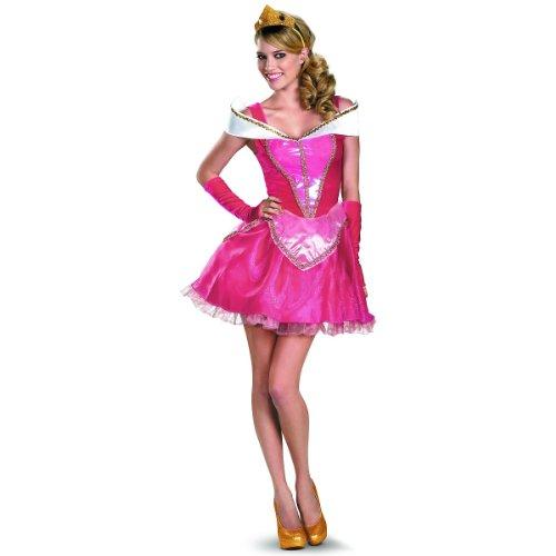 Aurora Costume Womens (Disguise Disney Deluxe Sassy Aurora Costume, Pink/White, Medium/8-10)