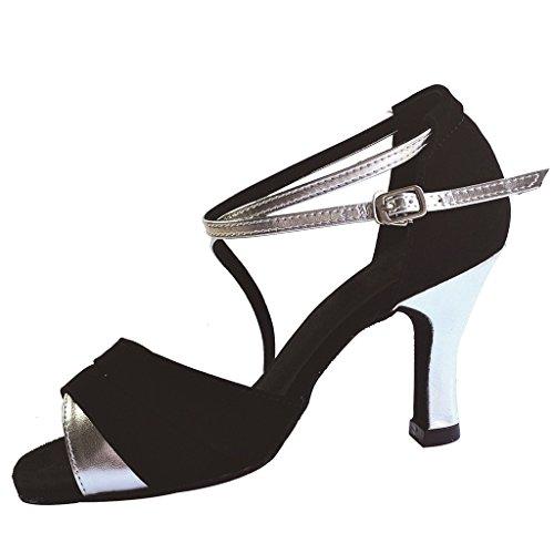 """Jig a sandalias Foo Fighters Open-toe Latina Salsa Tango salón de baile zapatos de baile para las mujeres con 2,75""""talón negro / plateado"""