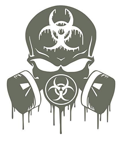 UR Impressions Gry Skull Dripping Biohazard Respirator Decal Vinyl Sticker Graphics Cars Trucks SUV Vans Walls Windows Laptop|Gray|5.5 X 5 -