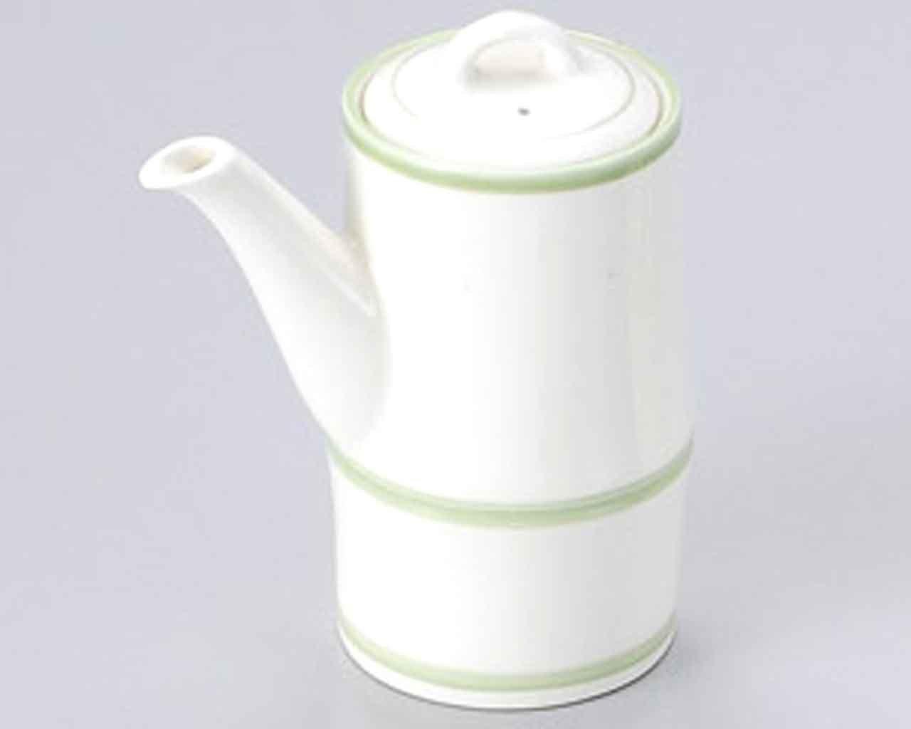 Green Lines 9.7cm Satz von 2 Sojasauce Flasche White porcelain Japanisch traditionell