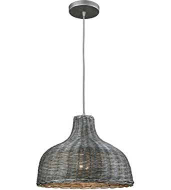 Pendants 1 Light With Weathered Gray Finish Gray Wicker Medium Base 14 inch 60 Watts - World of Lamp
