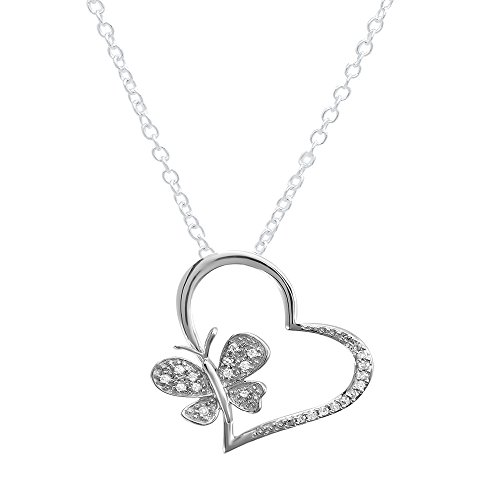 Dazzlingrock Collection 0.15 Carat (ctw) Round Diamond Butterfly Charm Heart Pendant, FREE CHAIN, Sterling Silver
