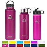 Hiwill Stainless Steel Insulated Water Bottle 2 Lids, Cold 24 Hours Hot 12