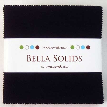 "Bella Solids Blacks Moda Charm Pack By Moda Fabrics; 42 - 5"" Quilt Squares"