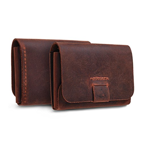 (TXEsign Top Grain Genuine Leather Business Name Card Holder Case with Magnetic Closure (Reddish Brown))