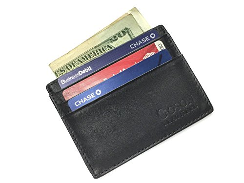 Goson Cowhide Leather Slim Thin Mens and Womens Credit Card Case Holder Wallet with Window ID - Dark Brown