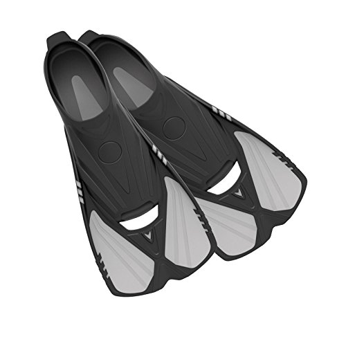 Deep Blue Gear Aqualine Short Fins for Snorkeling, Swimming, and Diving, Size 11-12, Platinum