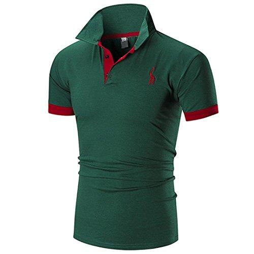 Summer Men Short Sleeve ☀Kstare Men's Classic Solid Soft Stretch Short Sleeves Polo T-Shirt (Green, M) ()