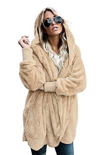 Plus de Designer casual abrigo Women's chaqueta Size con BaronHong capucha s caqui Ynwgq4qE