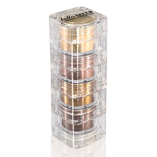 Mineral Shimmer Makeup Eyeshadow Highlighting Powder - Glitter Metallic Dust for Face, Hair & Nails (4-Stack - Gold Digger) (Gold Shimmer Powder Brush)