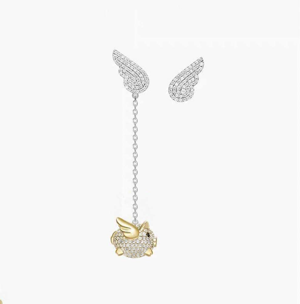 VKGJMHD - Pendientes largos de plata con borla plateada y dorada para mujer
