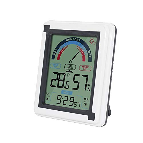 Price comparison product image AKIMPE Timer Indoor Thermometer Humidity Monitor Touchscreen Backlight Digital Display Gray