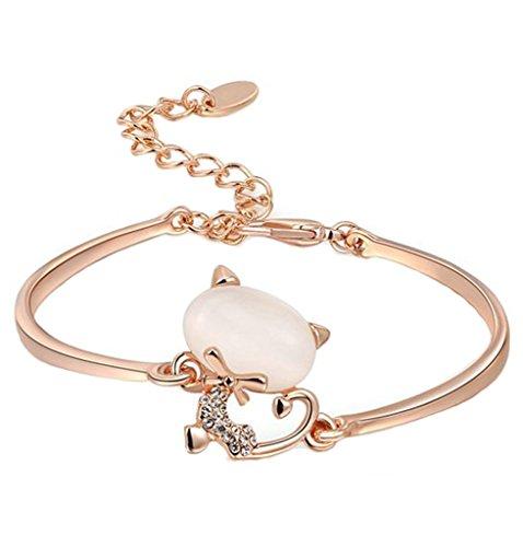 Plaqué Or Bracelets, Femme Chaîne Bracelets Ronde Cercle Forme Minou Or Rose Epinki
