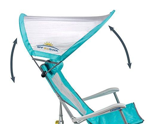 Gci Waterside Sunshade Folding Beach Recliner Chair With