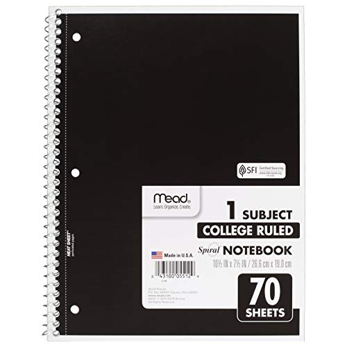 Mead SLTYGJHJ Spiral Notebooks, 1 Subject, College Ruled Paper, 70 Sheets, 10-1/2'' x 7-1/2'', Assorted Colors, 6 Pack (73065) 36 Pack by Mead (Image #3)