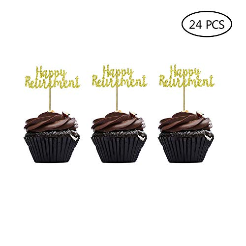 Happy Retirement Cake Topper Gold Glitter Retirement Party Supplies Decoration 24PCS