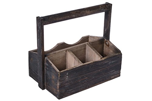 Dwellbee Rustic Wood Utensil Holder and Gardening Tote (Antique Walnut)