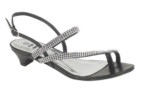 Chic Feet Diamante Flat Low Heel Prom Evening Wedding Sandals Silver, Gold or Black Black