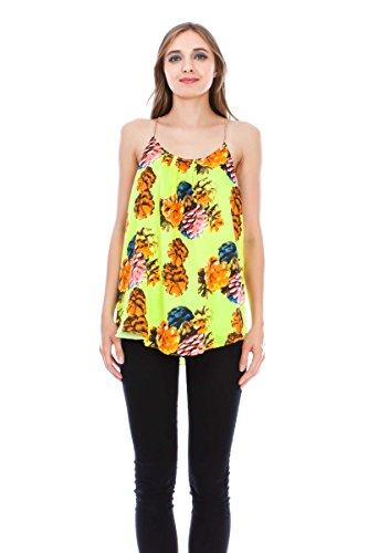 VIRGIN ONLY Women's Satin Print Cami (758 Yellow, Size (Print Satin Cami)