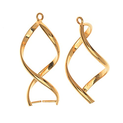 Pinch Bail for Pendants, Single Twist, 32mm, 36 Piece Bulk Pack, Gold Plated