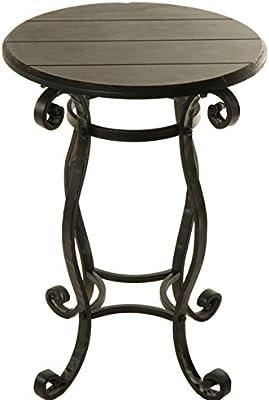 Bright Botanical Black Vintage Wood Plank and Metal Side Table - 25-in