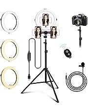 """Aigostar Marin 10"""" Led Selfie Ringlicht met Statief, Met Microfoon Bluetooth-afstandsbediening voor smartphones, foto's, Youtube, verstelbare ringlamp met 3 verlichtingsmodi en 10 helderheidsniveaus"""