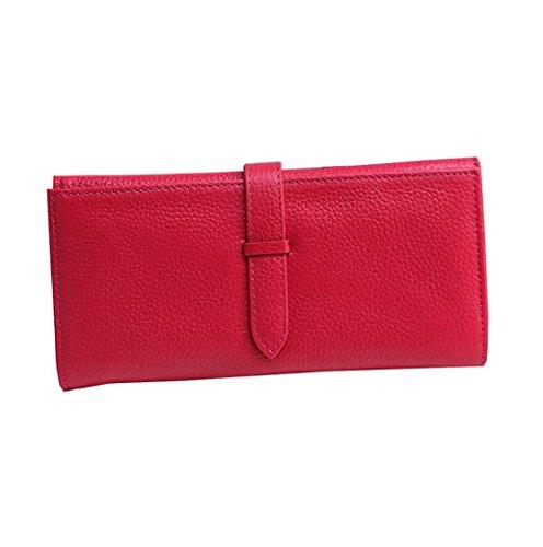 per Acmede pelle Zip ragazza Red in lungo di credito Slot con molti multifunzione Pu rosso donna Rose carte Portafoglio carta 13 bagagli credito Lady grande porta Multicolor capacità di di rqtrS