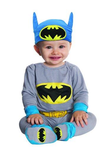 [DC Comics Gray Batman Onesie And Headpiece, Gray, Newborn] (Batman Outfit Baby)