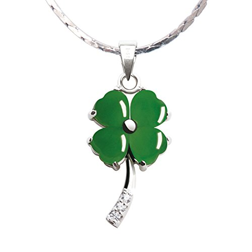 iSTONE Fine Jewelry Natural Gemstone Green Jasper Four Leaf Clover 925 Sterling Silver Pendant Necklace ()