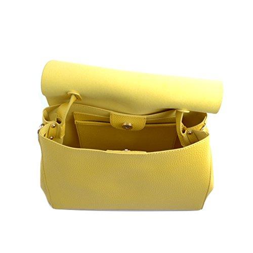Ermanno Scervino Borsa cartella donna pelle gialla con tracolla regolabile. Tasche interne e chiusura con bottone magnetico con applicazione di angioletti in ottone antico.