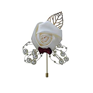 MOJUN Groom Boutonniere Pearl Beaded Bowknot Wedding Silk Rose Flowers Accessories Prom Pin Man Suit Decoration, Pack of 1, 3# 22