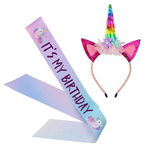 Unicorn Birthday Girl Set, Beinou Shiny Unicorn Headband and Birthday Girl Sash Set Perfect Unicorn Birthday Party Supplies, Rainbow -