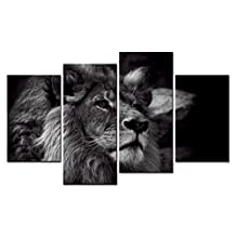SmartWallArt - Animal Paintings Wall Art Black & White Style a Lion Staring Into the Distance 4 Pieces Picture Print on Canvas for Modern Home Decoration